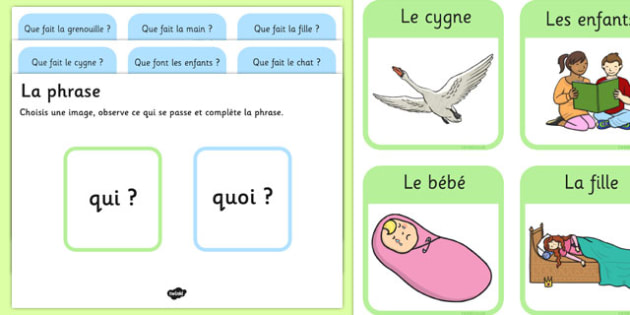 What Picture Description Cards French - what, describe, actions, verb, verbs, word order, sentences, france, french, francais, mfl
