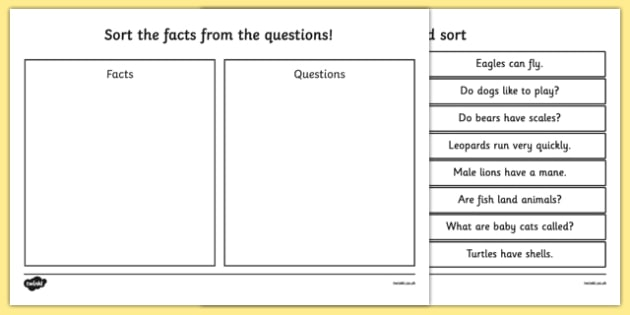 Sorting Questions and Facts Activity - sort, questions, facts