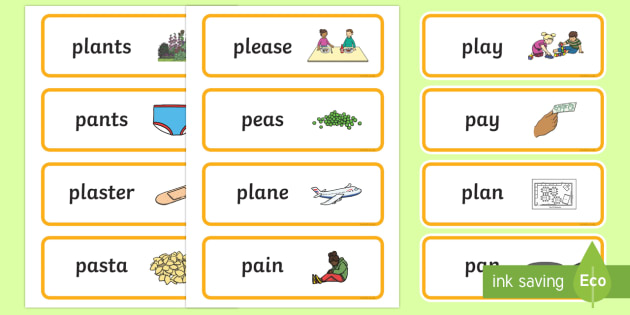 'pl' and 'p' Near Minimal Pair Word Cards - phonology, articulation, cluster reduction, cluster simplification, minimal pairs