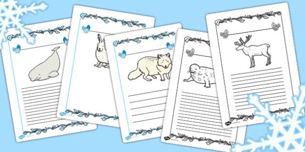 Polar Animals Writing Frames - writing frames, polar, animals