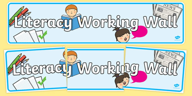 Literacy Working Wall Banner - literacy, working wall, banner, display