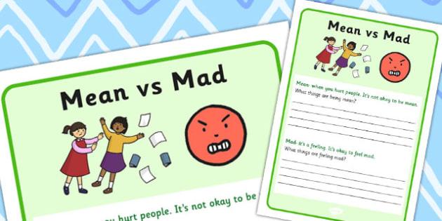 Mean vs Mad Worksheet - worksheets, emotion, emotions, expression