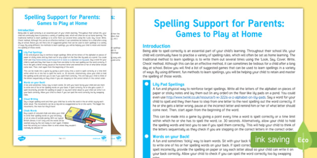 Spelling Support For Parents: Games to Play at Home Guide