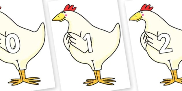 Numbers 0-31 on Hullabaloo Chicken to Support Teaching on Farmyard Hullabaloo - 0-31, foundation stage numeracy, Number recognition, Number flashcards, counting, number frieze, Display numbers, number posters