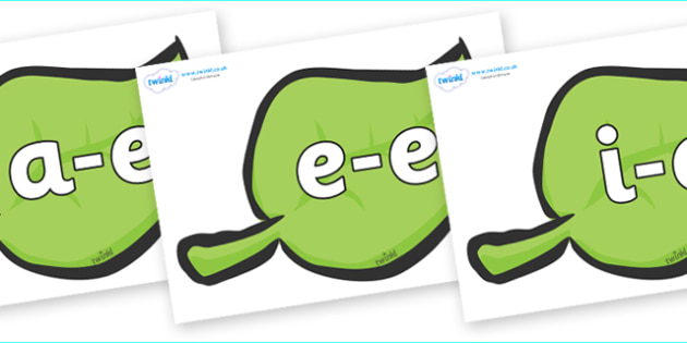 Modifying E Letters on Green Leaves - Modifying E, letters, modify, Phase 5, Phase five, alternative spellings for phonemes, DfES letters and Sounds