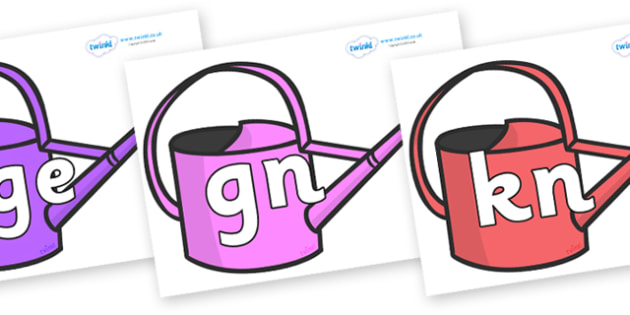 Silent Letters on Watering Cans - Silent Letters, silent letter, letter blend, consonant, consonants, digraph, trigraph, A-Z letters, literacy, alphabet, letters, alternative sounds