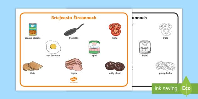 Bricfeasta Éireannach   Irish Breakfast Word Mat - ROI - Irish Language Week Gaeilge Resources - 1st-17th March, bricfeasta, breakfast, Irish, Éireann