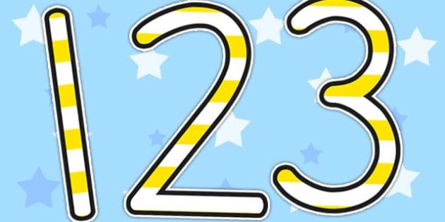 Stripey Yellow Display Numbers - numbers, display numbers, number