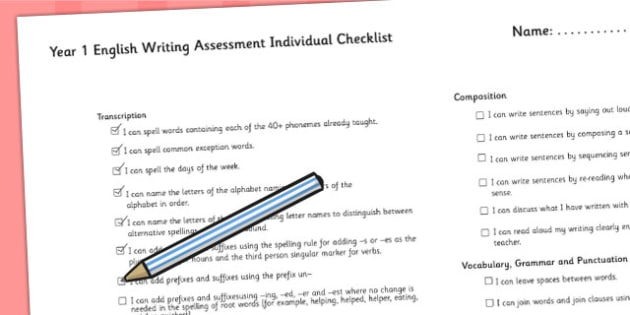 2014 Curriculum Year 1 English Writing Assessment Individual Lists