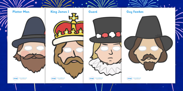 The Gunpowder Plot Role Play Masks - Story, Bonfire night, role play mask, masks, Guy Fawkes, bonfire, Houses of Parliament, plot, treason, fireworks, Catholic, Protestant, James I