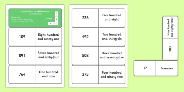 Number Bonds to 1000 Dominoes Non Multiples - maths, loop cards, number facts, facts to 1000, thousand, addition, number pairs