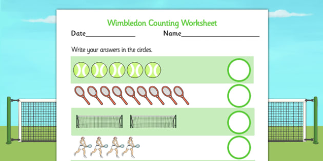 Wimbledon Themed Counting Worksheet - count, numeracy, sports