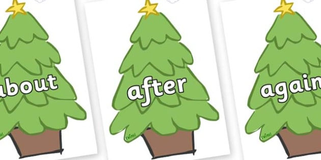 KS1 Keywords on Christmas Trees (Plain) - KS1, CLL, Communication language and literacy, Display, Key words, high frequency words, foundation stage literacy, DfES Letters and Sounds, Letters and Sounds, spelling