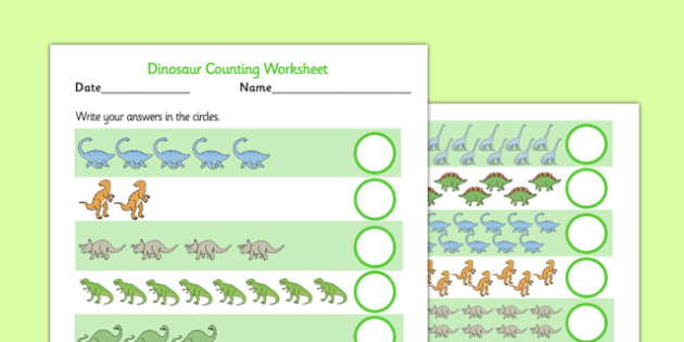 Dinosaur Counting Worksheet up to 20 - dinosaur, 1-1, one to one, counting, worksheet, 20, cardinal, numbers