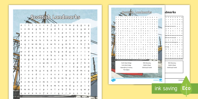 CfE - Geography - Scottish Landmarks Word Search-Scottish - Scottish Landmarks, wordsearch, cfe, key vocabulary, second level, people and place, social studies,