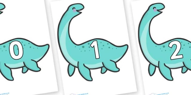 Numbers 0-50 on Pleseosaur Dinosaurs - 0-50, foundation stage numeracy, Number recognition, Number flashcards, counting, number frieze, Display numbers, number posters