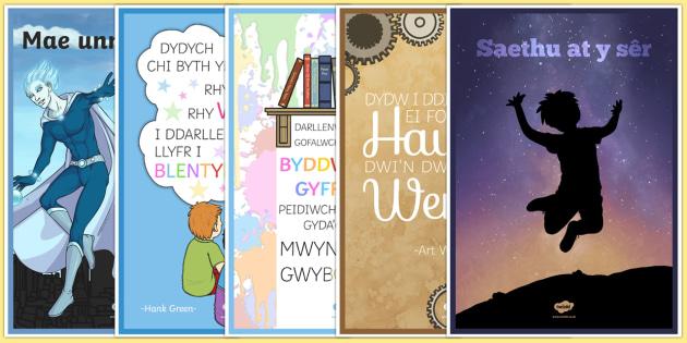 Pecyn Posteri Ysgogiadol Posteri Arddanogos-Welsh