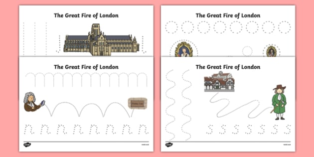 The Great Fire of London Pencil Control Activity Sheet Pack, worksheet