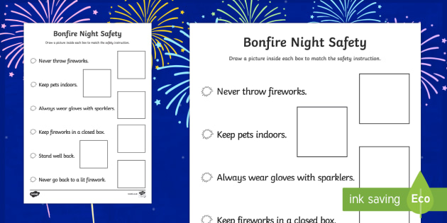 Bonfire Night Safety Poster Drawing Activity Sheet