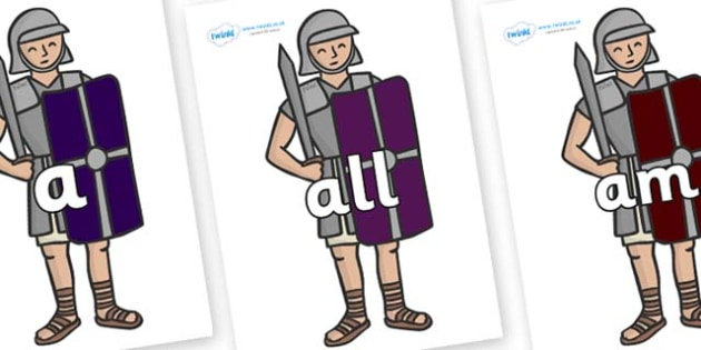 Foundation Stage 2 Keywords on Roman Soldiers - FS2, CLL, keywords, Communication language and literacy,  Display, Key words, high frequency words, foundation stage literacy, DfES Letters and Sounds, Letters and Sounds, spelling
