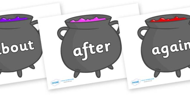 KS1 Keywords on Cauldrons (Plain) - KS1, CLL, Communication language and literacy, Display, Key words, high frequency words, foundation stage literacy, DfES Letters and Sounds, Letters and Sounds, spelling