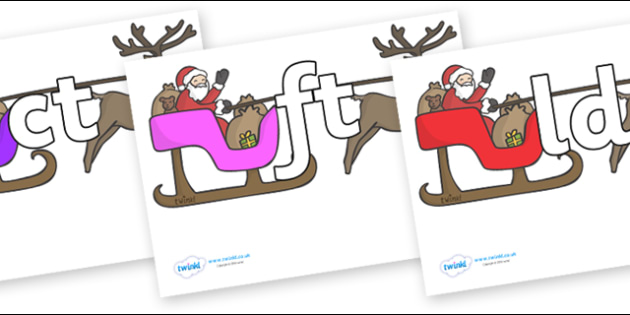 Final Letter Blends on Sleighs - Final Letters, final letter, letter blend, letter blends, consonant, consonants, digraph, trigraph, literacy, alphabet, letters, foundation stage literacy