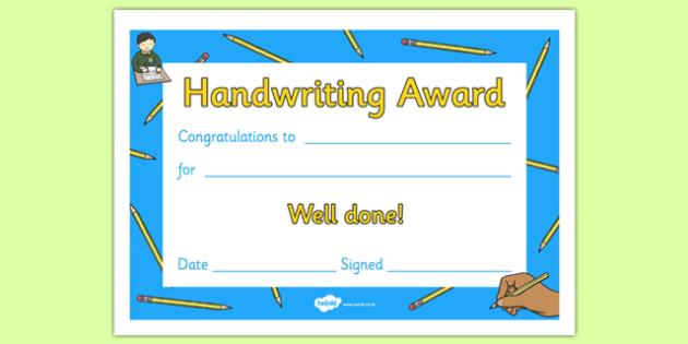 Handwriting Award Certificate - Handwriting award, Literacy award, good handwriting, reward, award, certificate, medal, rewards, school reward