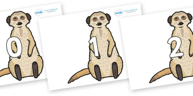 Numbers 0-31 on Meerkats - 0-31, foundation stage numeracy, Number recognition, Number flashcards, counting, number frieze, Display numbers, number posters