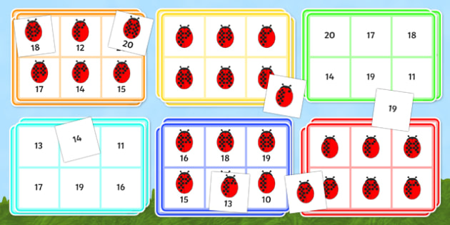 Ladybird Bingo (10-20) - Minibeasts - Ladybird, bingo, number game, 10-20, Number words, Numerals, Foundation Numeracy, Number recognition, Number flashcards, minibeasts