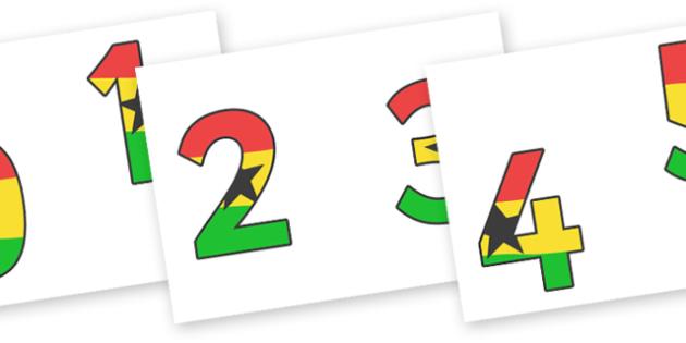 Ghana Flag Display (Numbers) - Display numbers, 0-9, numbers, display numerals, Under the Sea, Sea, display lettering, display numbers, display, cut out lettering, lettering for display, display numbers