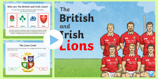 The British and Irish Lions Tour PowerPoint - NI - The Lion's Tour, British, Irish, rugby union, New Zealand, Australia, South Africa, player, ma