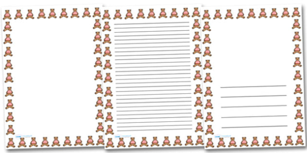 Teddy Portrait Page Borders- Portrait Page Borders - Page border, border, writing template, writing aid, writing frame, a4 border, template, templates, landscape