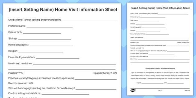 Editable Home Visit Information Form - home visit, information, form