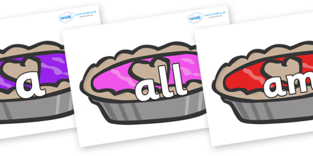 Foundation Stage 2 Keywords on Jam Tarts - FS2, CLL, keywords, Communication language and literacy,  Display, Key words, high frequency words, foundation stage literacy, DfES Letters and Sounds, Letters and Sounds, spelling