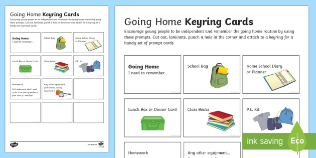 Going Home Keyring Cards - independent information, ks2, ks3, PSHE, behaviour, homework, equipment, reminder