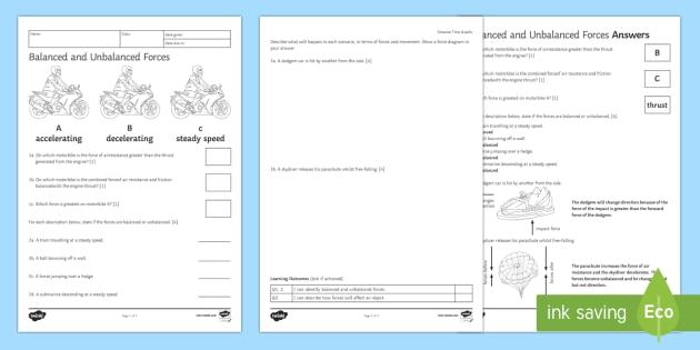 Balanced and Unbalanced Forces Homework Activity Sheet - Homework, forces, balanced, unbalanced, steady speed, direction, speed, worksheet