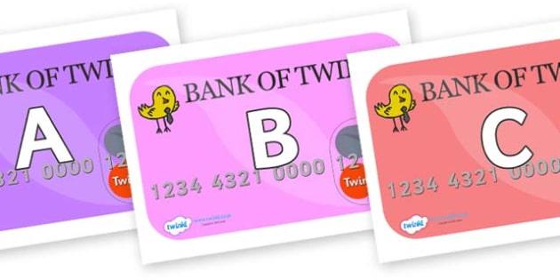 A-Z Alphabet on Debit Cards - A-Z, A4, display, Alphabet frieze, Display letters, Letter posters, A-Z letters, Alphabet flashcards