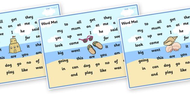 Seaside Themed FS2 Word Mat - seaside, seaside themed word mats, seaside word mats, seaside fs2 word mat, fs2 word mat, seaside high frequency words