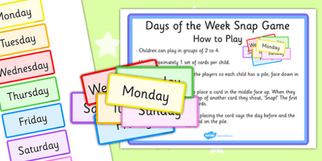 Days of the Week Snap Game - days, week, snap game, snap, game