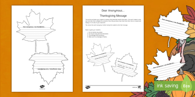 Dear Anonymous Thanksgiving Message Activity