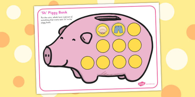 Sh Phonics Piggy Bank Activity - sh, phonics, piggy bank, activity