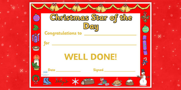 Christmas Star of the Day Certificate - christmas, christmas themed certificate, star of the day, certificate, class management, behaviour management, reward