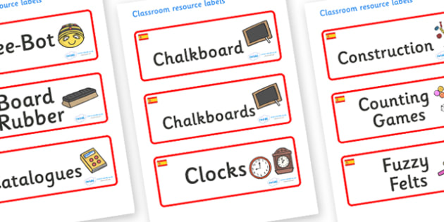 Spain Themed Editable Additional Classroom Resource Labels - Themed Label template, Resource Label, Name Labels, Editable Labels, Drawer Labels, KS1 Labels, Foundation Labels, Foundation Stage Labels, Teaching Labels, Resource Labels, Tray Labels, Pr