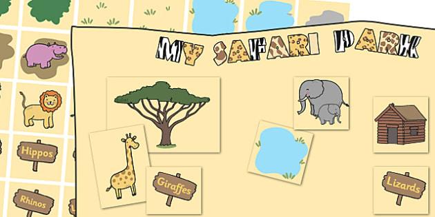 Safari Park Map Cut and Stick Activity - safari, on safari, safari park map, safari park cut and stick, safari park cut and stick activity, safari design