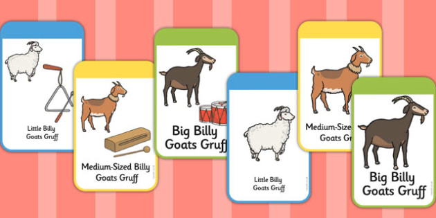 Billy Goats Gruff Instrument Picture Cards - billy goat, troll, eyfs