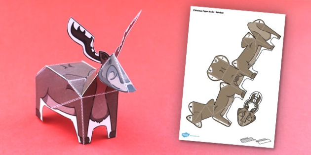 Christmas Paper Model Reindeer - activity, activities, create