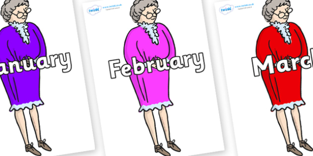 Months of the Year on Mrs Phelps to Support Teaching on Matilda - Months of the Year, Months poster, Months display, display, poster, frieze, Months, month, January, February, March, April, May, June, July, August, September
