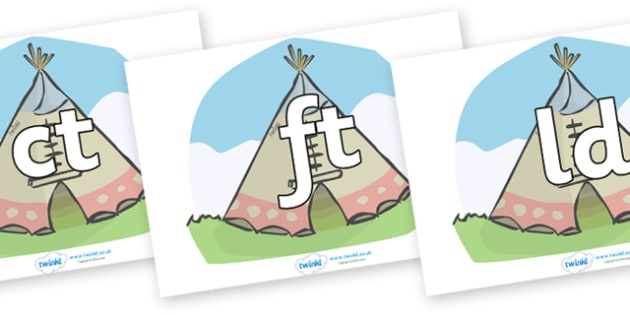Final Letter Blends on Tipis - Final Letters, final letter, letter blend, letter blends, consonant, consonants, digraph, trigraph, literacy, alphabet, letters, foundation stage literacy