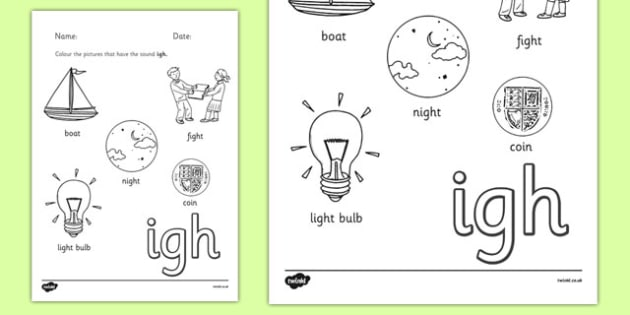 Phase 3 Trigraph Colouring Sheets igh - phase 3, trigraph, colouring, sheets, igh