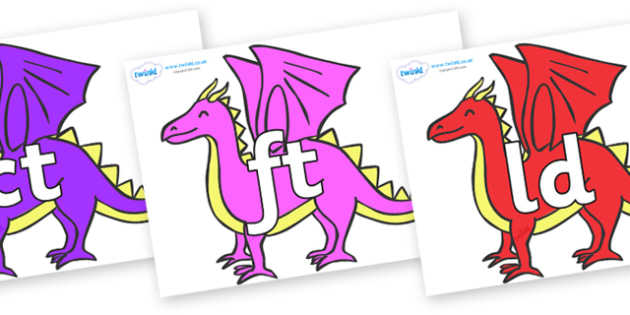 Final Letter Blends on Dragons - Final Letters, final letter, letter blend, letter blends, consonant, consonants, digraph, trigraph, literacy, alphabet, letters, foundation stage literacy